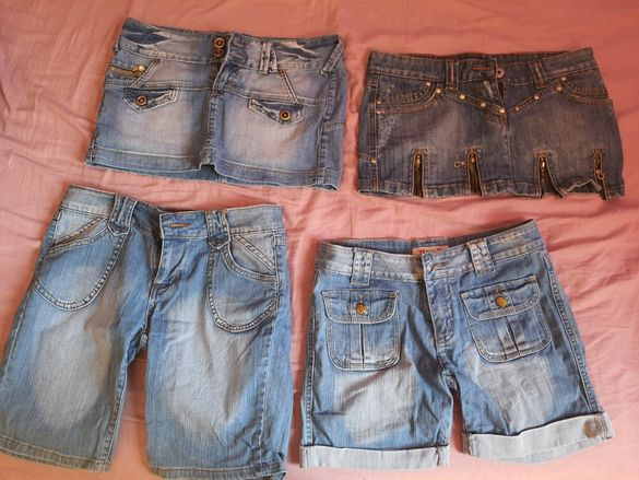 Цял лот от дънкови панталонки,пола и сукман М размер