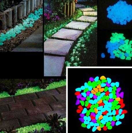 Светещи декоративни соларни камъни 100 броя