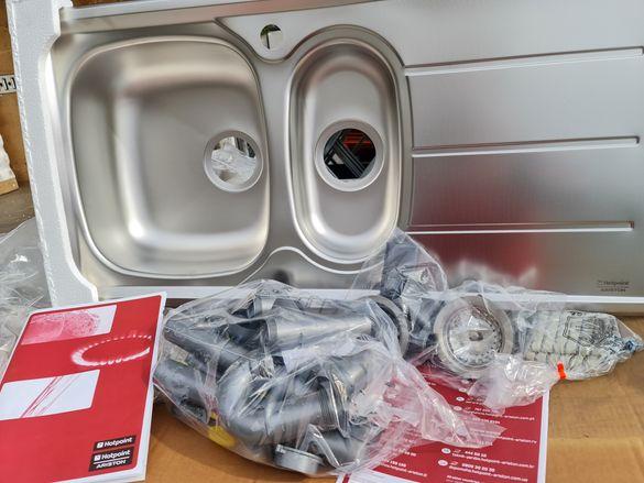 Инокс мивки Аристон 220лв за 1бр комплект с сифони,и тръби