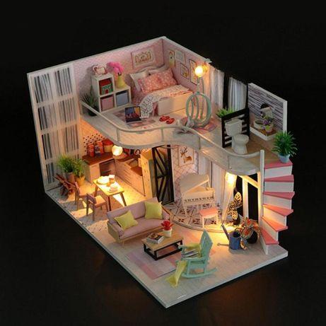 Casa de papusi Diorama din lemn 3D luminata -dormito+bucatarie+living