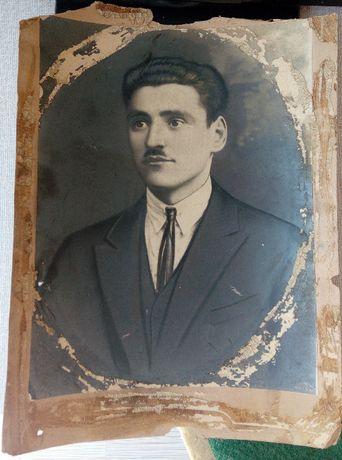 Стара ретро снимка голям формат портрет черно-бяла