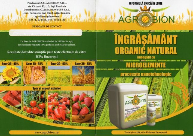 Ingrasamant organic foliar AGROBION