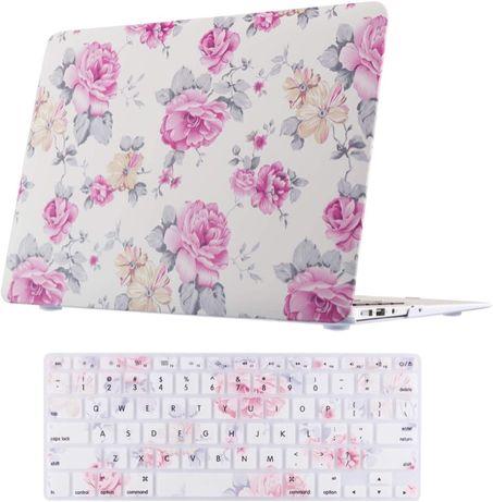 Carcasa protectie cover Macbook Air 13'' A1466 A1369 flori alb roz