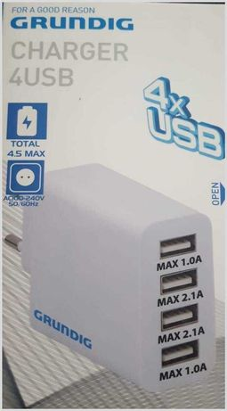 Зарядно с 4 порта 4,5А Grundig 4 Poort USB