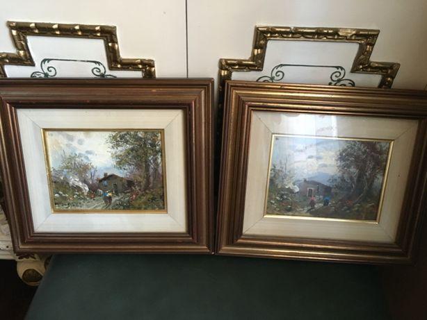Deosebite 2 tablouri,pictura pe panza ,peisaje rurale, semnate,Italia