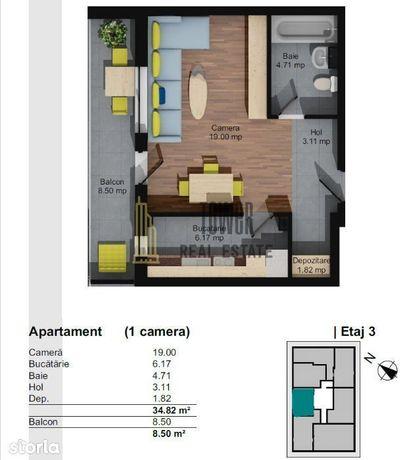 Apartament cu o camera| Semifinisat| Balcon