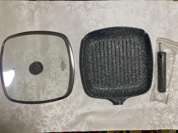 Сковорода - гриль 28х28 Гранит со съемной ручкой