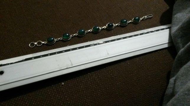 Bratara argint cu piatra verde