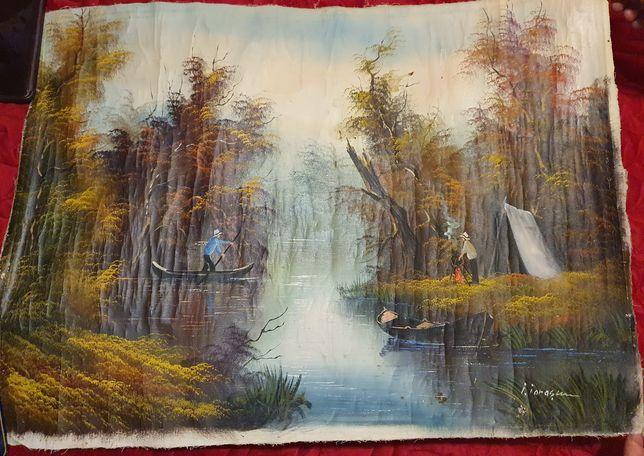 Pictura veche,ulei pe panza Ilie Ionascu,neinramata