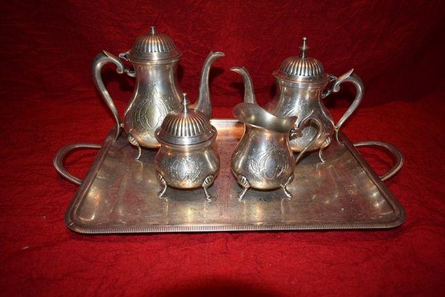 Serviciu cafea,ceai,din metal placat cu argint 5 piese NR 3