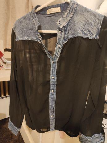 Дамска прозрачна риза с дънкова част
