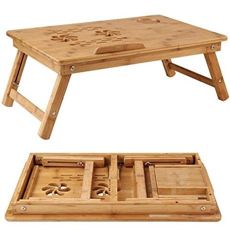 Бамбукова маса за лаптоп, сгъваема, стабилна, с вентилационни отвори