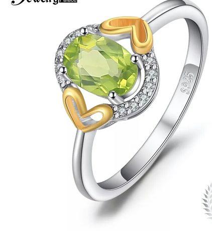 Inele cristal verde olive(argint)