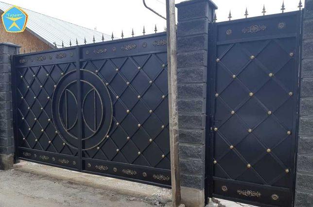 """Распашные ворота """"Камила"""" (откатные). Заборы из профнастила усиленные."""