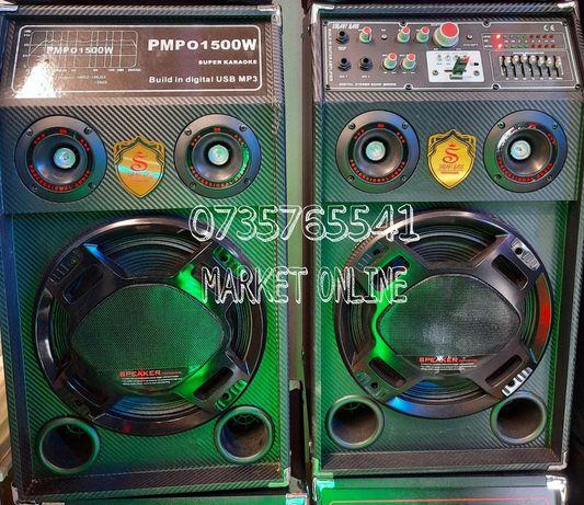 Set 2 boxe active Smart Bass 240W telecomanda microfon NOU