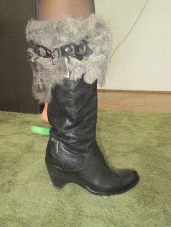 дамски ботуши от естествена кожа - черни