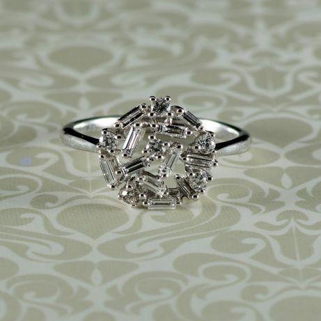 Inel cu diamante, aur alb 18k, 3,19 grame (cod 8245)