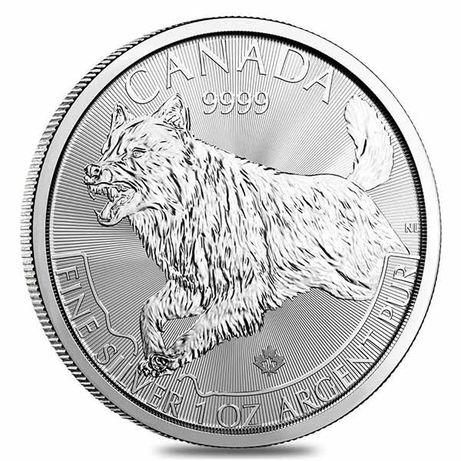 Moneda argint lingou, Canadian Silver Wolf Predator