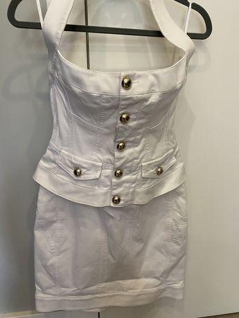 Къса тясна бяла рокля, тип корсет с подплънки Dsquared