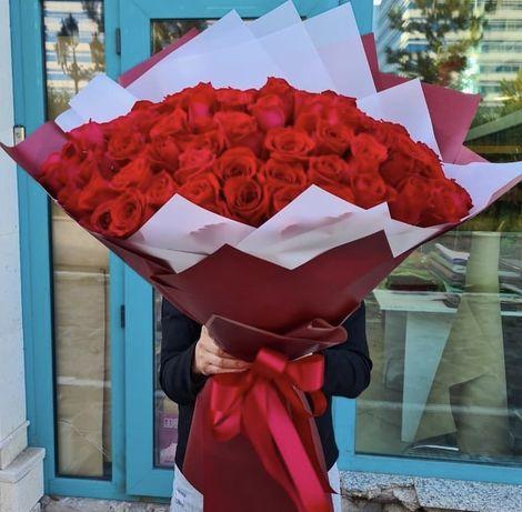 Голландские 101 роза 35 000 тенге