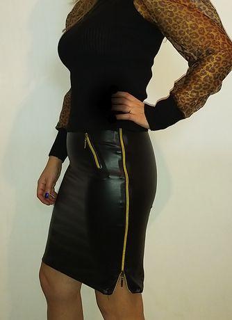 кожена еластична пола