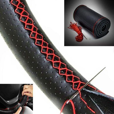 Калъф за волан 100 % естествена перфорирана кожа черен с червен шев 38