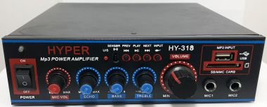 Amplificator audio, stereo, cu player MP3, radio, telecomanda, 12V/220