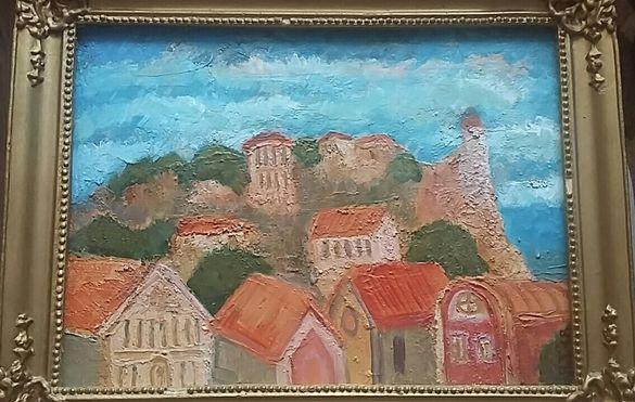 ПРОДАВАМ Българска маслена картина на Я.Тодоров - ПЛОВДИВ/Старият град