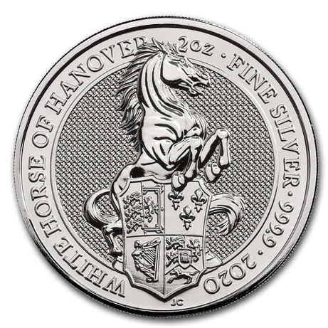 Moneda argint 999 lingou Queens Beast White Horse of Hanover 2oz=62g