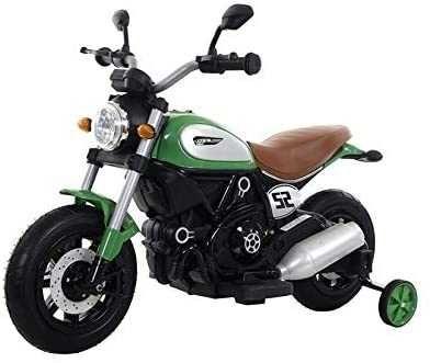 Motocicleta electria pentru copii BT307 60W, ROTI Gonflabile #Verde