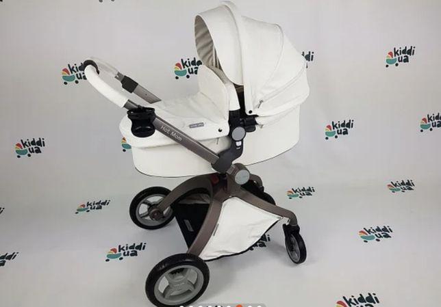 Детская коляска 2в1 Hot Mom F22 цвет бело черный, экокожа