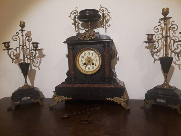 НАМАЛЕН Антикварен Френски каминен часовник от 1874г (мрамор и бронз)