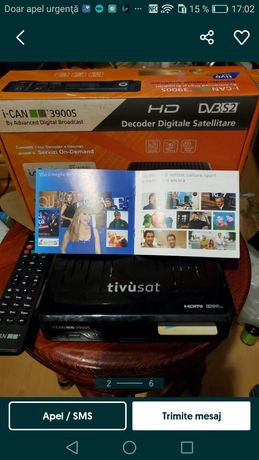 Vând receptor /receiver/decodor satelit  Tivusat HD Ican 3900S Hd