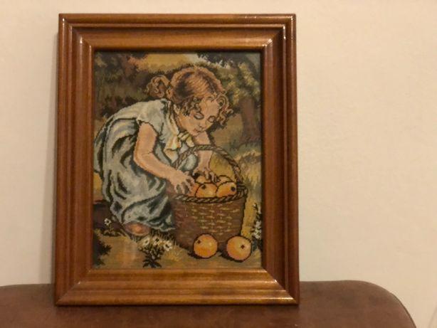 Goblen lucrat manual*fetita cu mere*la cules de mere*culesul merelor !