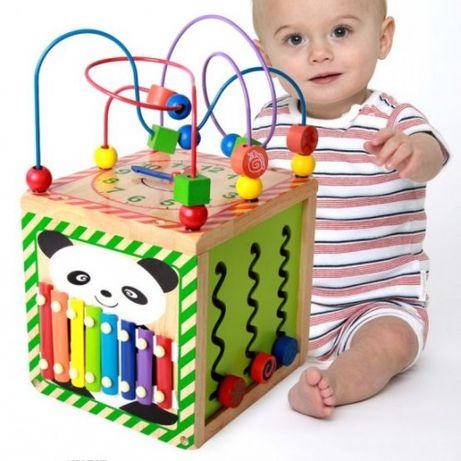 Cub educativ din lemn 6 in 1 Montessori,xilofon si labirint,jucarie