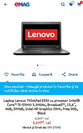 Laptop Lenovo ThinkPad e550!Office!Gaming ! Aproape NOU! NEGOCIABIL !!