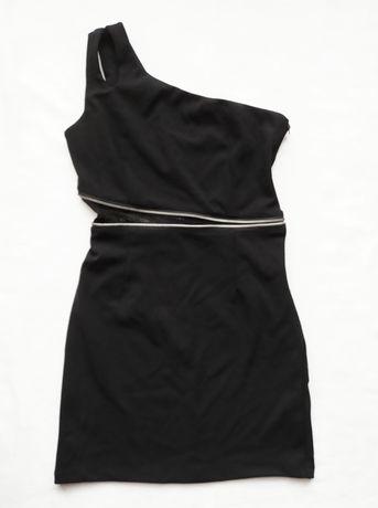 Дамска къса черна рокля с цип и мрежа