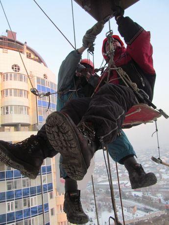 Альпинисты в Алматы. Высотные работы Покраска. Утепление. Мойка. Мойка