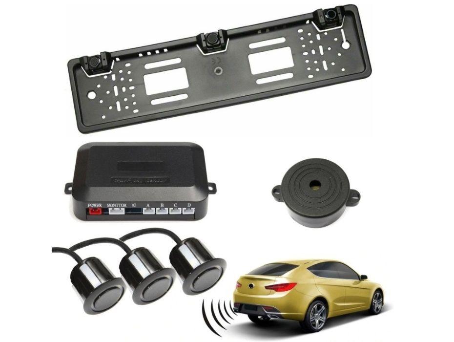 Set senzori parcare auto cu buzzer kit suport numar inmatriculare