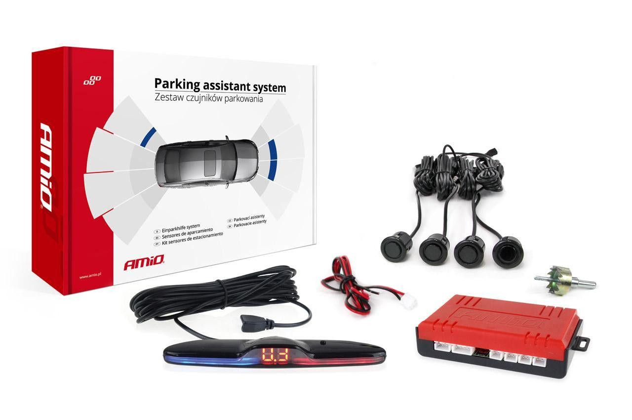 Комплект сензори за паркиране, заден ход, MAX LED 4 черни сензора
