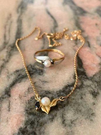 Set bijuterii din aur alb si galben de 18k cu perle safire,diamant