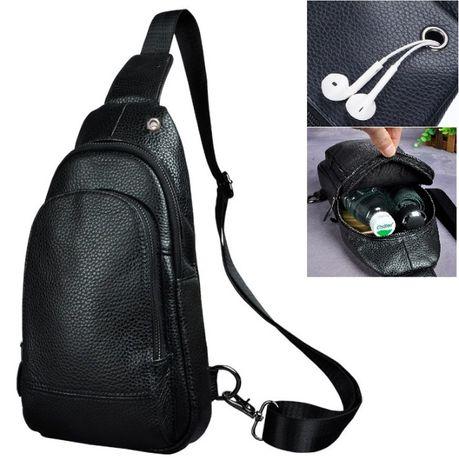 Кожена мъжка чанта за през рамо с два джоба и дупка за слушалки
