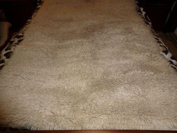 бял вълнен губер за легло 113х216см