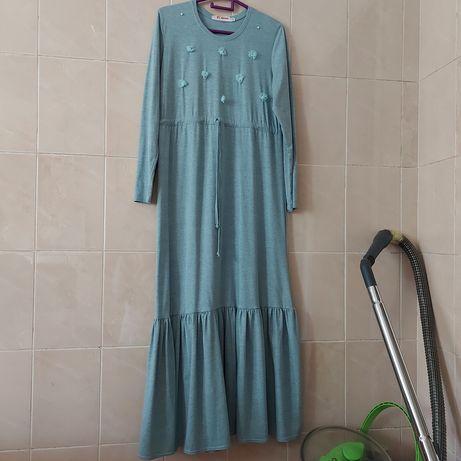 Длинное платье хиджаб. Трикотажный шарф
