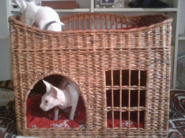 плетеный дом-лежанка для кошек
