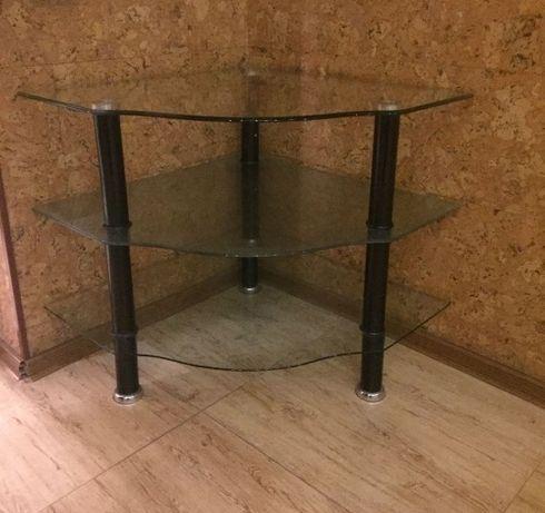 Стеклянный столик/полка,журнальный столик,угловой стол 70/70