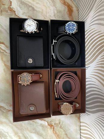 Ремень портмоне часы Сагат наручные часы  комплект женский мужской