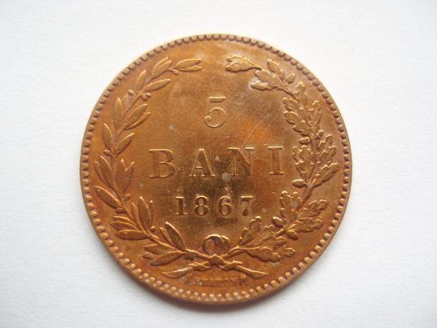 ROMANIA - 5 bani 1867 Heaton , CAROL I, L7.49