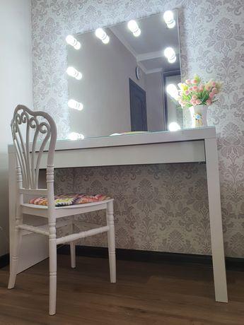Туалетный столик икеа, гримерное зеркало, стул