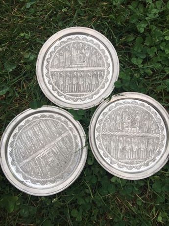 Set 3 platouri micuțe persane in argint masiv 900